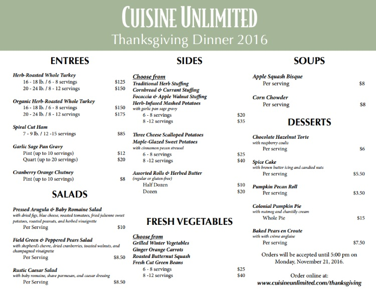 Cuisine Unlimited - a full Thanksgiving day dinner delivered right to your doorstep