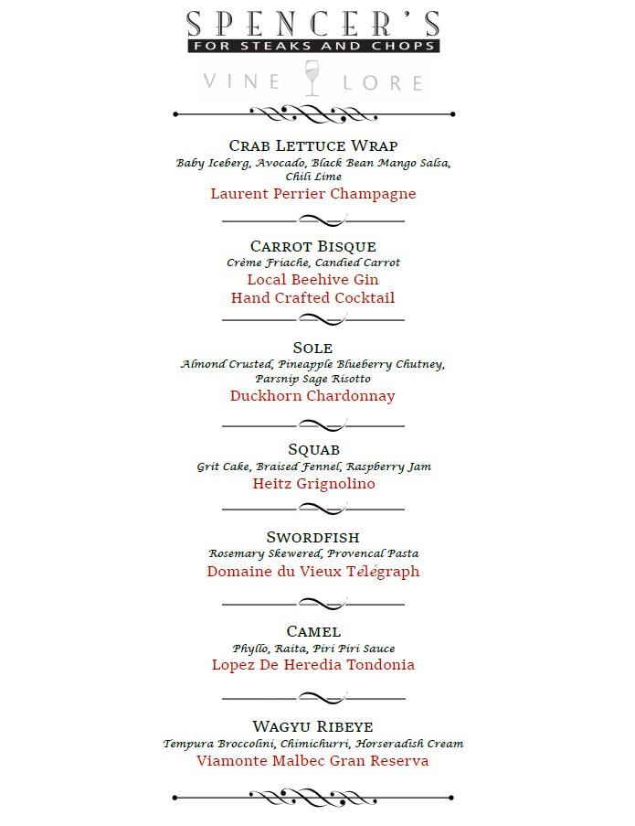 spencers vinelore wine dinner menu