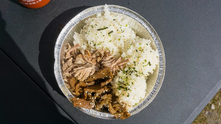 Half and half plate from The Salty Pineapple food truck