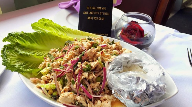 Bangkok Terrace on Gallivan Avenue.  Larb Gai. Approved for beer and wine.