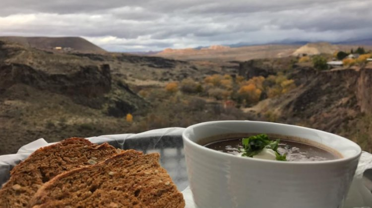 The views and cuisine of River Rock Roasting co.  Now  also enjoyed with beer and wine.