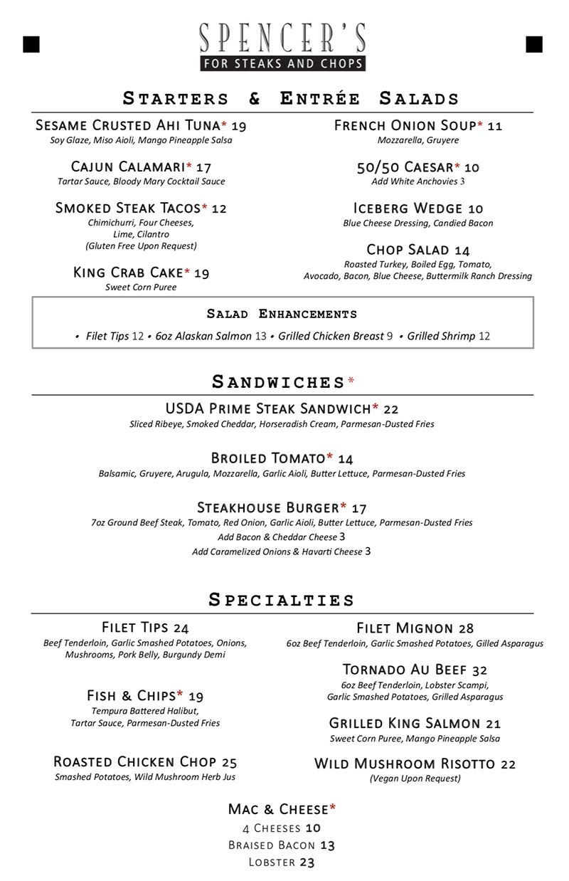 Spencer's For Steaks And Chops new 2018 new lunch menu