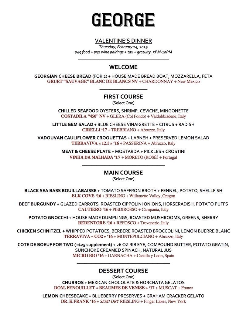 George Valentines Day 2019 menu