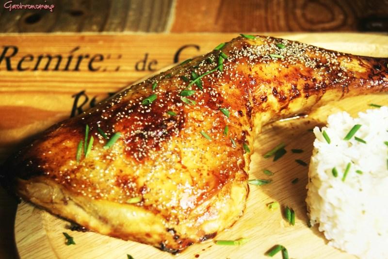 Pollo asado con miel y soja