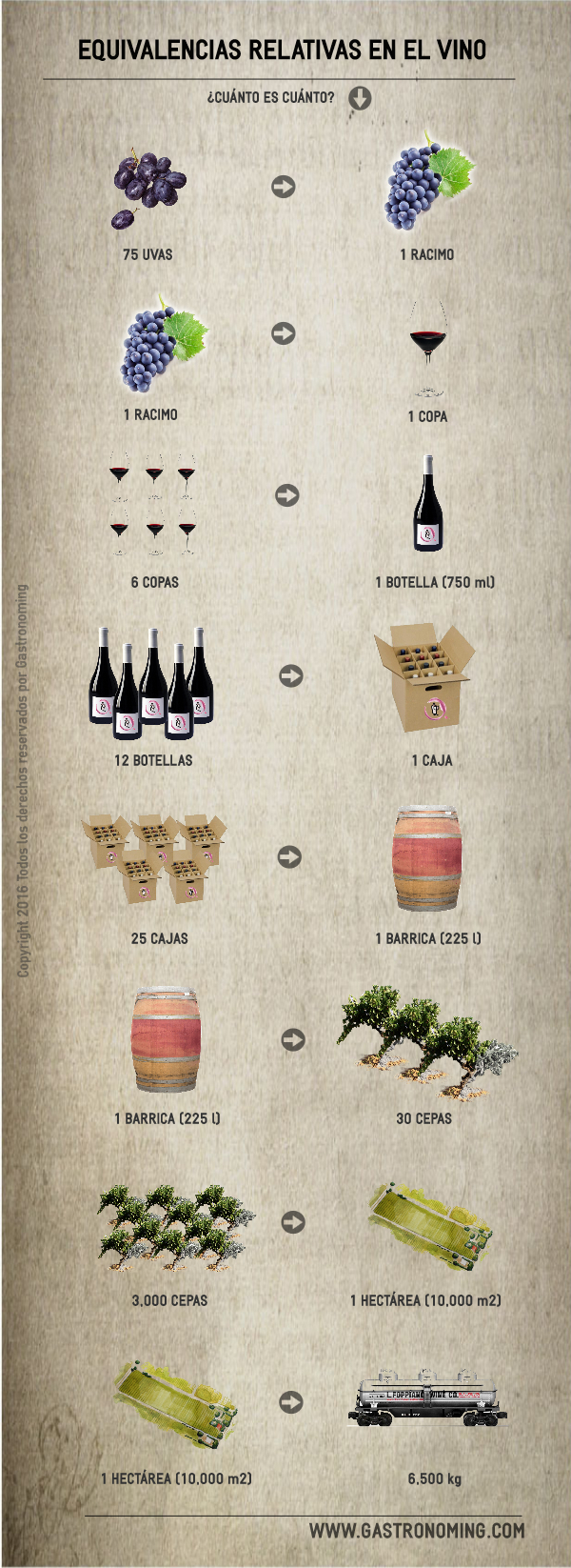 equivalencias en el vino