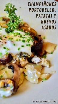 Champiñones Portobello, patatas y huevos asados