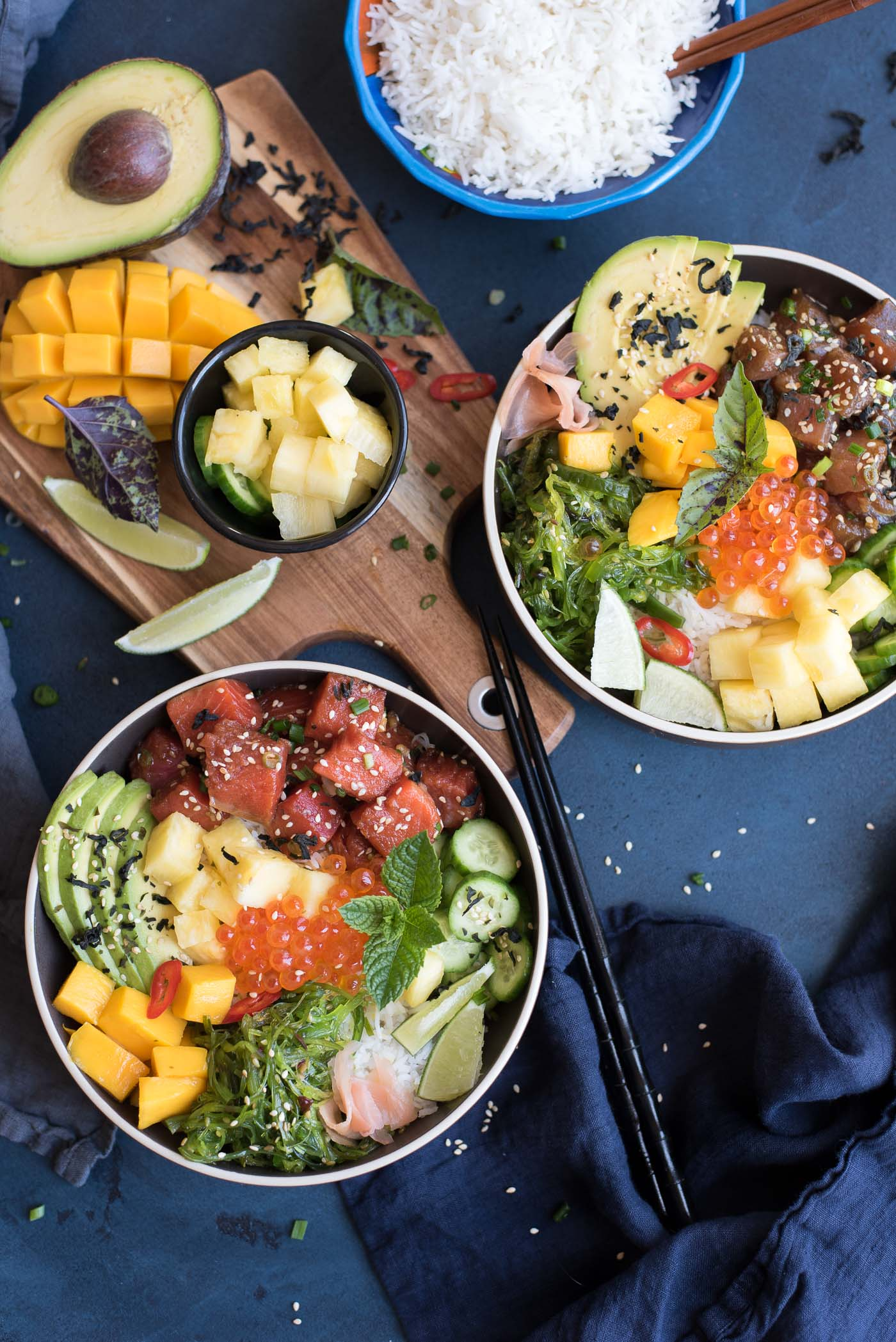 Tuna and salmon poke bowls gastrosenses for Fish buffet near me