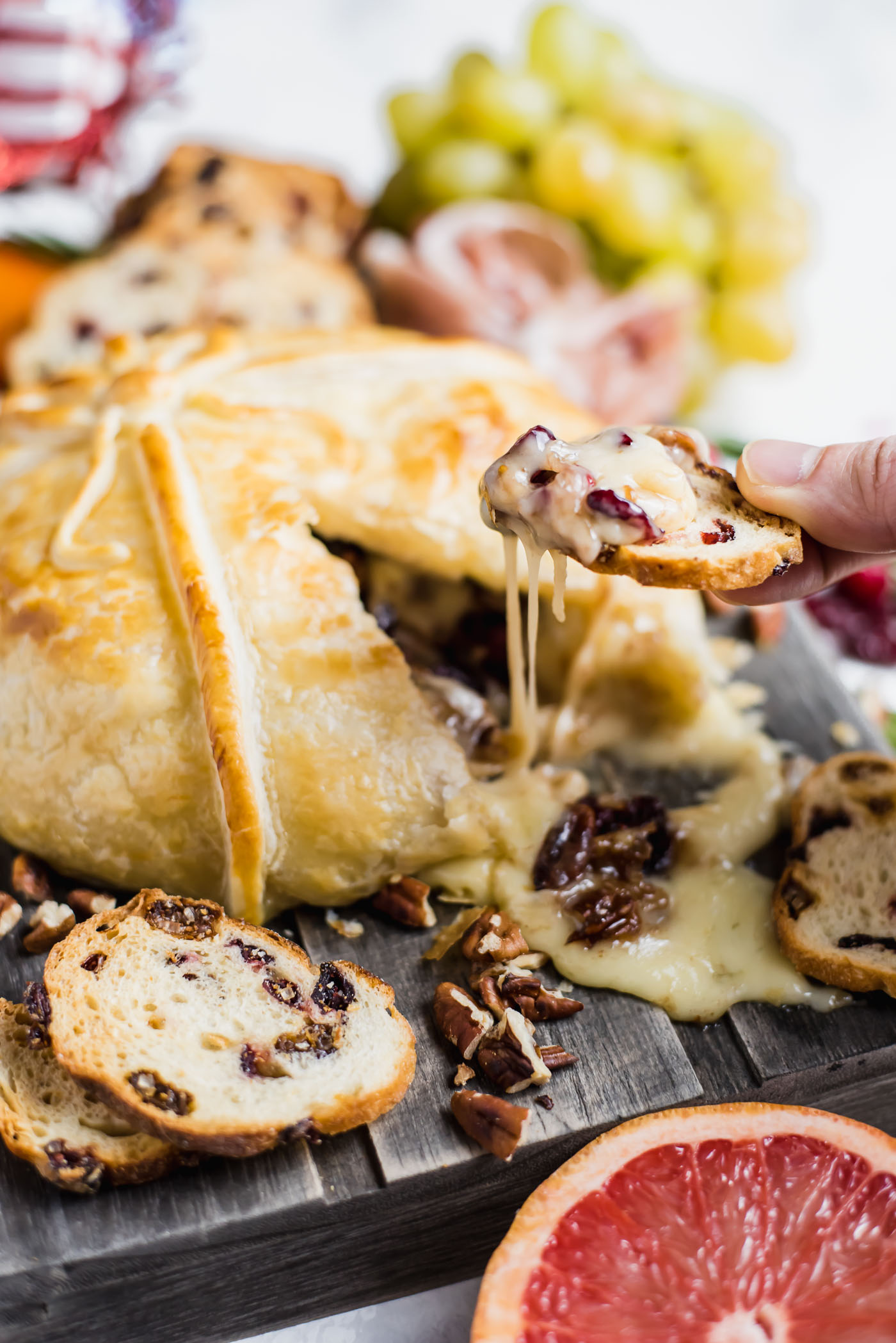 Cranberry Pecan Stuffed Baked Brie