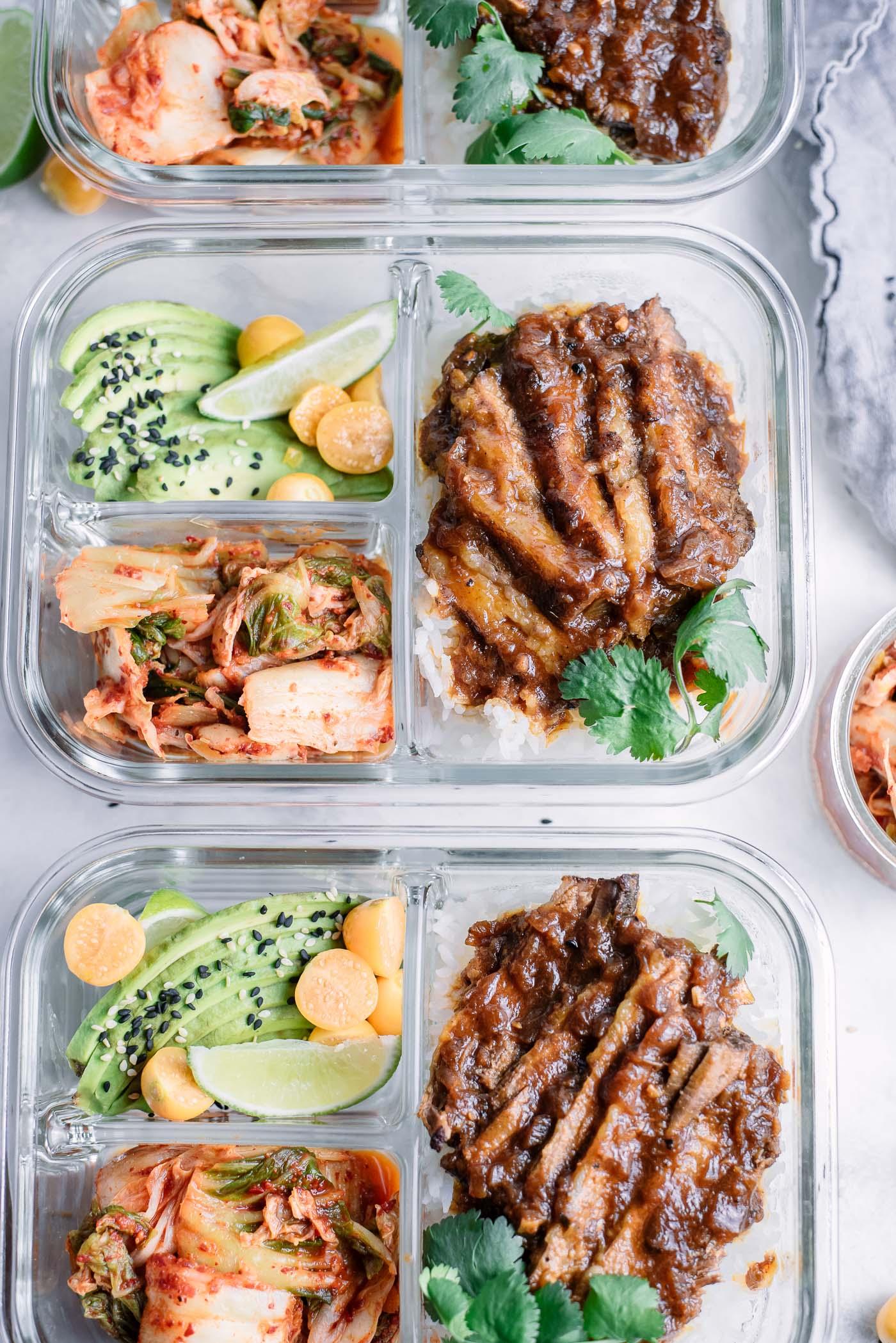 Pressure Cooker Korean Beef Brisket Meal Prep Bowls