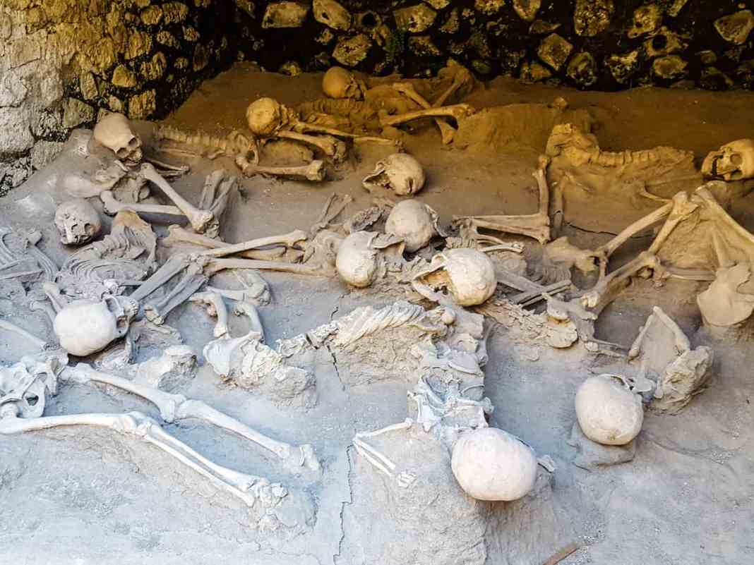 Skeleton in the boat shed in Herculaneum