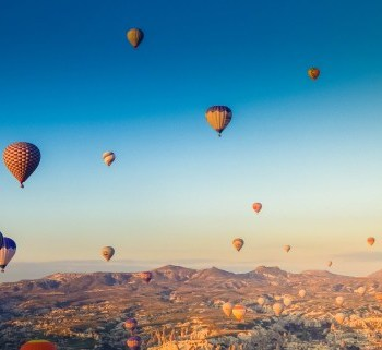 Balloons at sunrise in Cappadocia