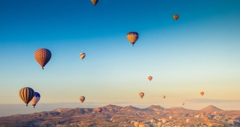 Balloons at sunrise in Cappadocia