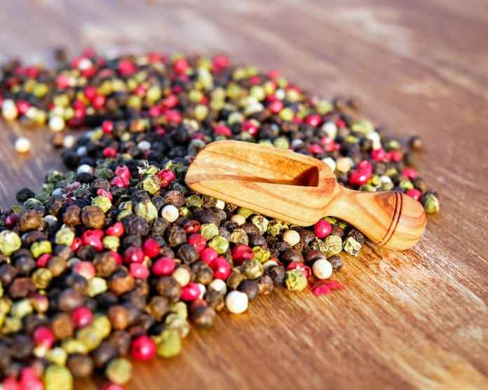 Colourful peppercorns