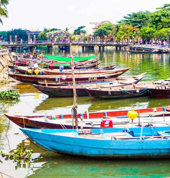 Colorful boats on the river in Hoi An