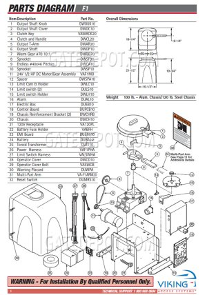 Replacement Parts Diagram  Viking Access F1 (1st Gen) Parts Diagram