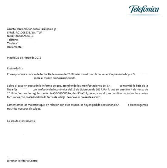 Contestación Movistar reclamacion a Telecomunicaciones