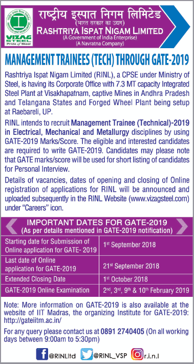 Vizag Steel Recruitment Through GATE 2019
