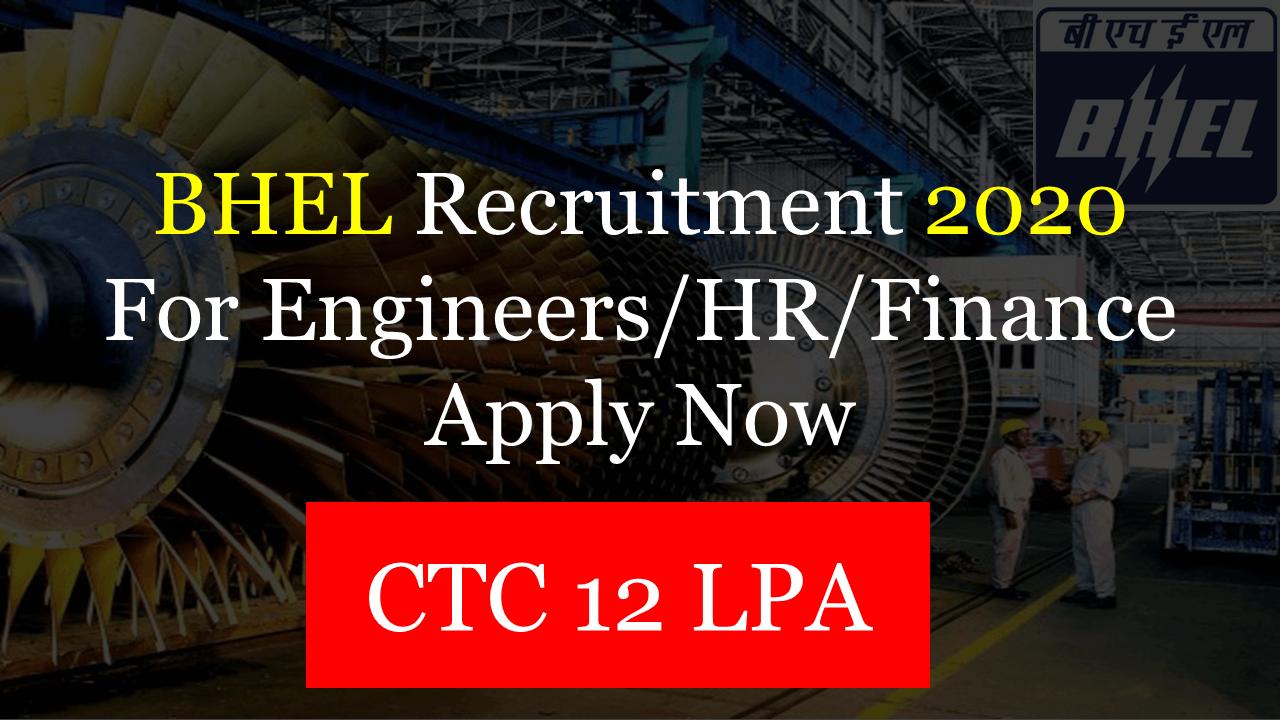 BHEL Recruitment Through GATE 2020