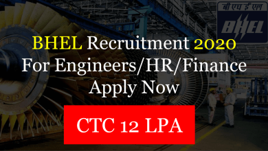 BHEL Recruitment Through GATE 2020
