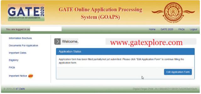 How to fill GATE 2020 Application Form