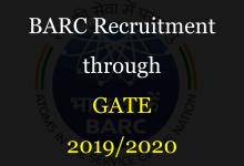 BARC Recruitment through GATE 2019/2020
