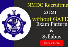 NMDC Junior Officer Trainee Syllabus 2021