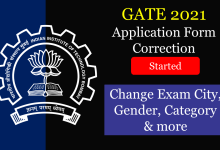 GATE 2021 Application Correction