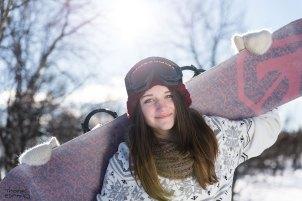 Vinterporträtt snowboard