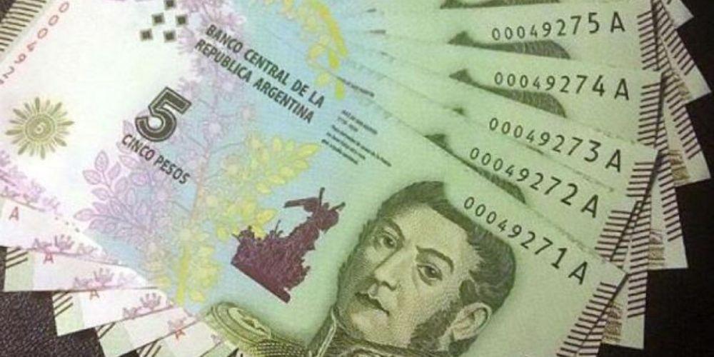 peso argentino banconota moneta 5 pesos