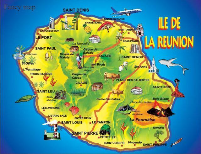 Ile de la réunion carte touristique