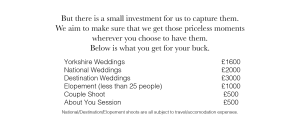 Details of wedding prices