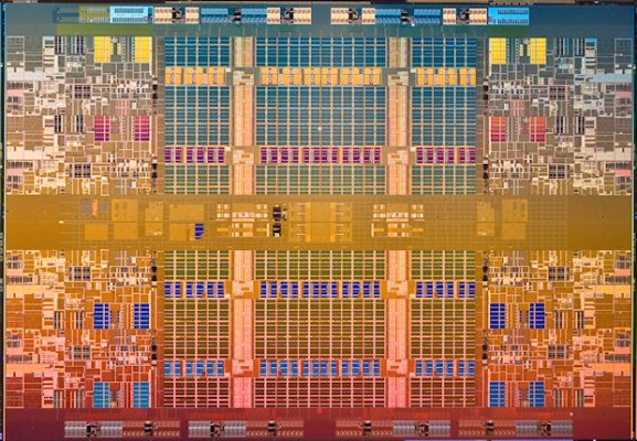 The CPU die under a microscope : Pic courtesy Techreport