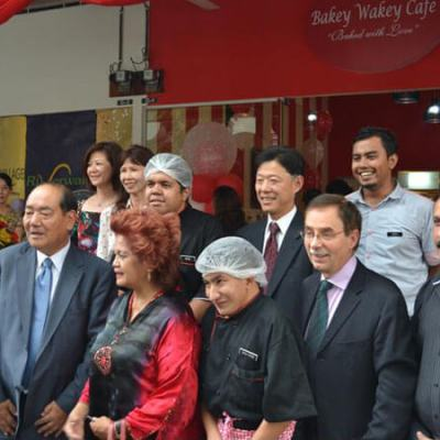 Opening ceremony of Bakey Wakey. Mr Leo Kuscher, General Manager of Grand Dorsett Subang (second from right) and YBhg. Datin Paduka Khatijah Sulieman, President of Selangor Cheshire Home