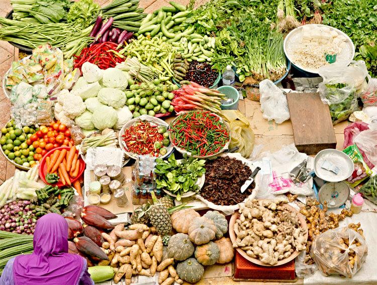 Fresh produce sold daily at Pasar Besar Siti Khadijah