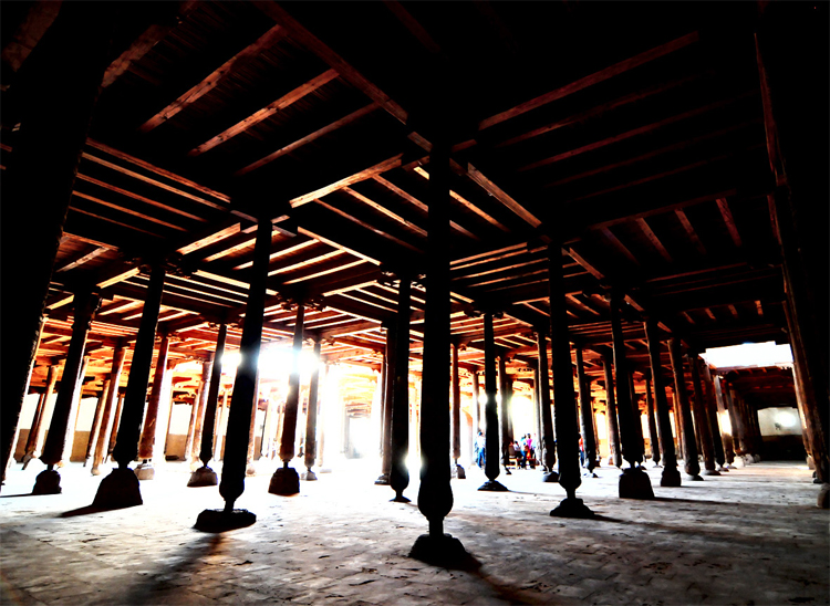 The interior of Masjid Juma in Khiva, the oldest mosque in Uzbekistan, dating over 1,000 years old.