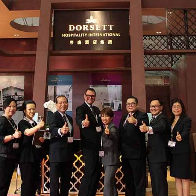 The Dorsett Hospitality International's team from left to right: Vivian Lo, Brand and Marketing Manager and Melpo Wong, Director of Distribution from Dorsett Hospitality International; Philip Wong, General Manager of Dorsett Singapore; Philip Schaetz, Senior VP Sales & Marketing and Kattie Hoo, Director of MarCom for Dorsett Hospitality International; David Teoh, Cluster Director of Sales for Dorsett Regency Kuala Lumpur, Silka Maytower Hotel & Serviced Residences and Silka Johor Bahru; Frankie Lam, Director of Sales for Dorsett Singapore and Decky Kwok, Regional Director of Sales, SEA for Dorsett Hospitality International.