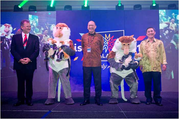 The Visit Malaysia Year 2014 mascot, the Probosis Monkey, was officially unveiled during the World Tourism Conference 2013 held in Melaka on 21 October by Minister of Tourism and Culture Malaysia, Dato' Seri Mohamed Nazri Abdul Aziz, accompanied by H.E. Mr. Zoltan Somogyi, Executive Director of United Nations World Tourism Organisation (left) and Secretary General Ministry of Tourism and Culture, Dato' Ong Hong Peng.