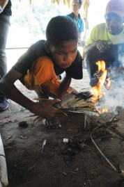 Orang Asli demonstrated how to make fire.