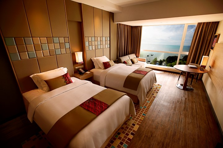 An artistic rendition of one of the guest rooms in DoubleTree Resort by Hilton Penang