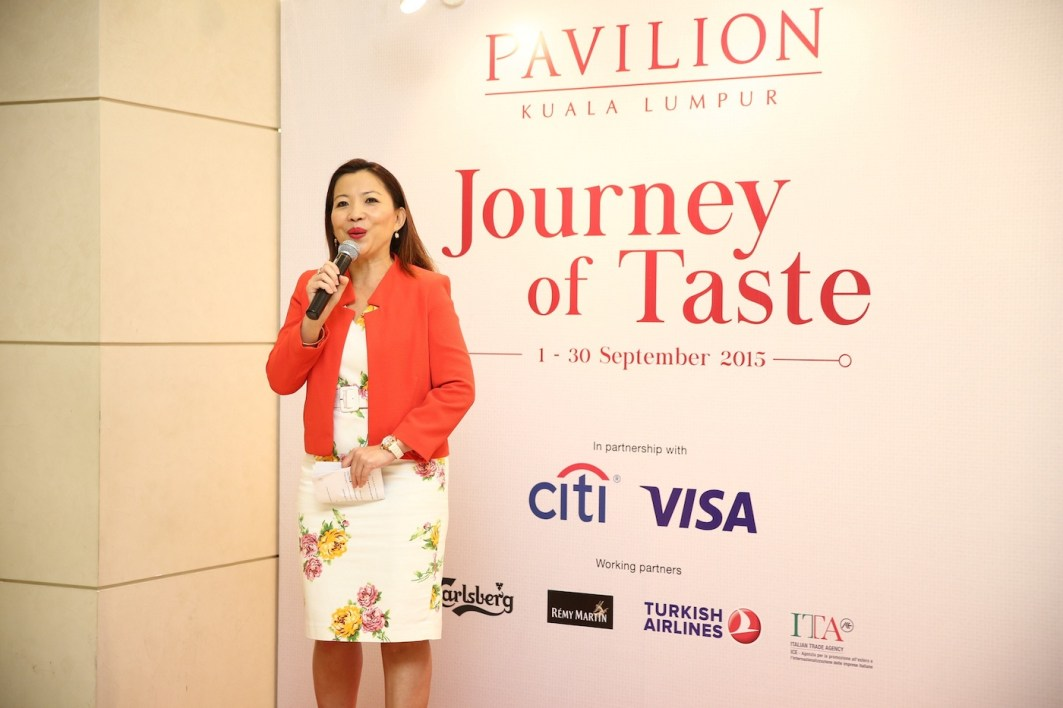Ms. Kung Suan Ai, Director of Marketing, Pavilion Kuala Lumpur speaking to the guests and welcoming them at Pavilion Kuala Lumpur's launch of Journey of Taste at the Dining Loft precinct