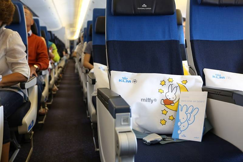 Adorable Miffy pillows await passengers on their seats during the special flight