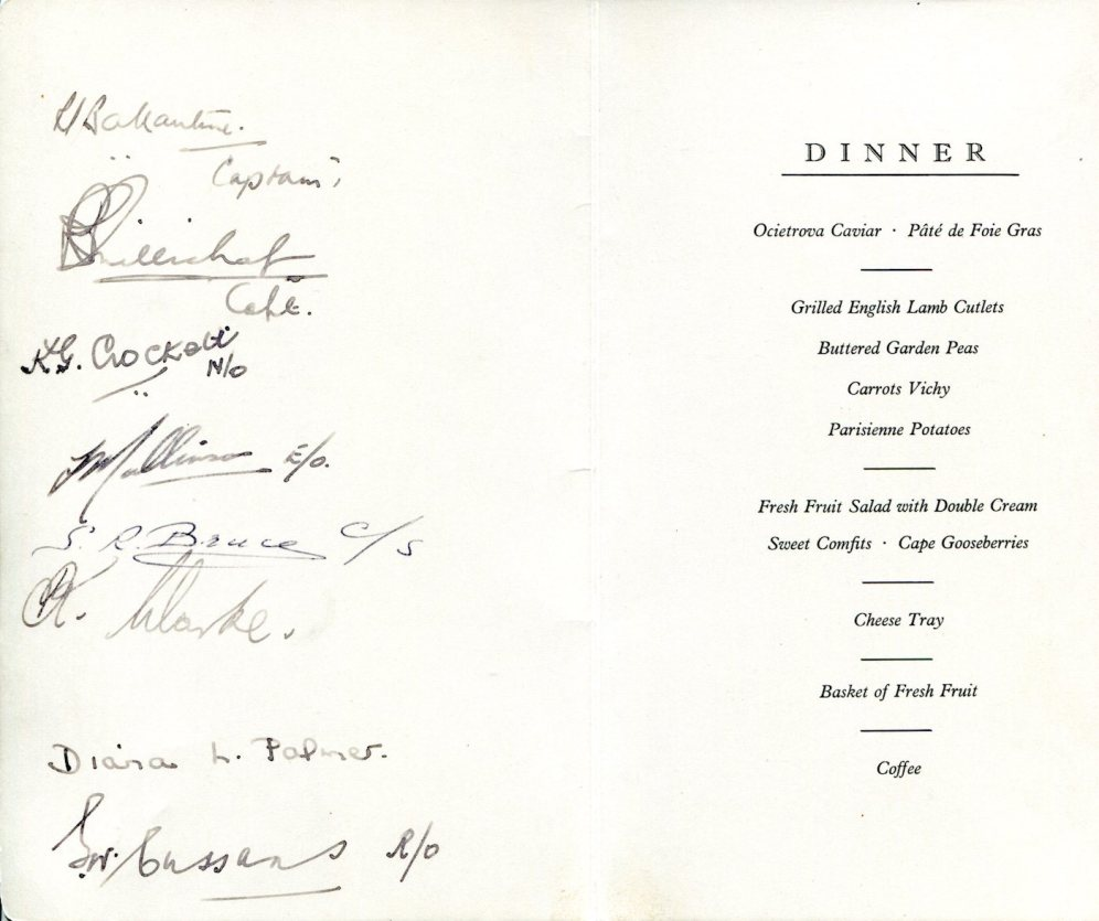 Menu from FLIGHT DETAILS signed by the operating BOAC Captain and cabin crew (C) British Airways