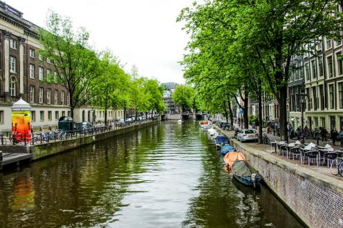 Scenic canal within Amsterdam city centre