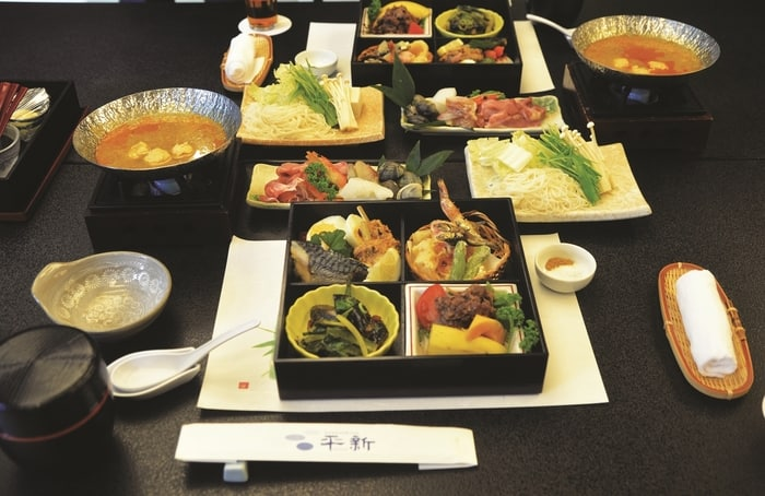 Traditional Japanese multi-course haute cuisine at Hirashin Ryokan.