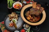 Nasi dagang tulang rusuk kerutup bakar with condiments