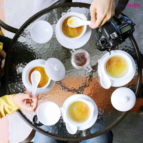 Savouring the bird nest soup is a must!