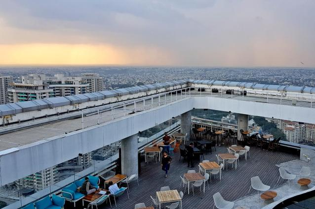 One part of the High Ultra Lounge that offers view of Bengaluru skyline.