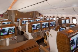 The Business Class Cabin on the new Emirates Boeing 777-300ER.