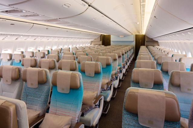 The Economy Class cabin on the new Emirates Boeing 777-300 ER.