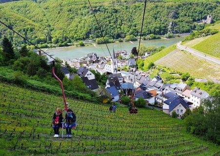 The chairlift ride over the picturesque Rhein Valley